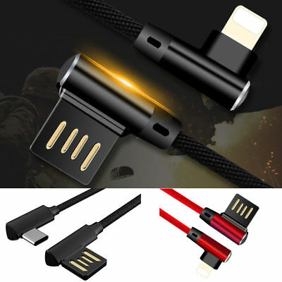 Right Angle IOS / Type-C USB Cable Charge 90 Degree Woven Lead for Mobile Phones