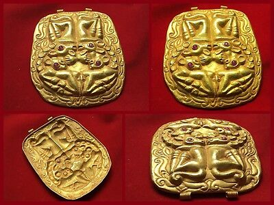 Rare Ancient Greco Scythian Gold Pendant With 4 X Wealderbeast C 350 /400 AD .
