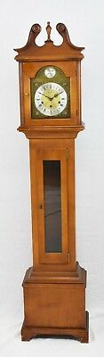 Seth Thomas Tempus Fugit Small Grandfather Clock Tiger Maple and Maple E657
