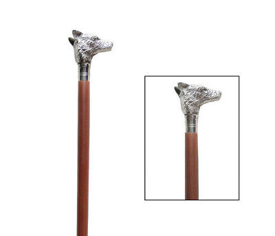 Classic Style Brown Wooden Walking Stick Cane Soild Brass Fox Face Handle