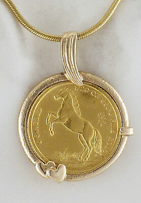 Estate 1990 1/20th OZ 5 Horse Singold Coin Pendant Necklace 18K Snake Chain