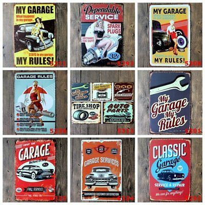 Retro Tin Signs Metal Plates Wall Posters Home Garage Men Cave Vintage Gift 8x12