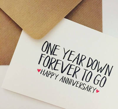 First Wedding Anniversary Card One Year Down Forever To Go Hy