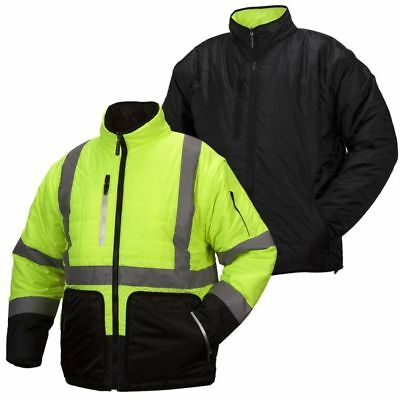 Pyramex RJR33 Class 3 Hi-Vis Lime 4-in-1 Quilted Reversible Jacket Sizes M-5XL