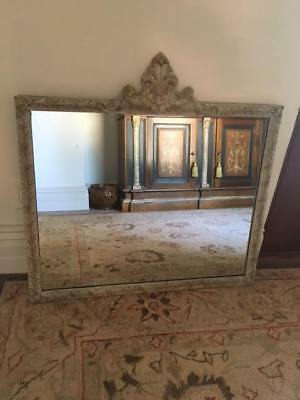 Large VINTAGE FRENCH Carved Wooden Mirror,c.1940s-50s, Weathered White