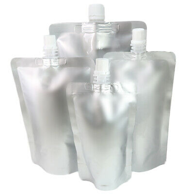 50 Silver Stand Up Beverage Drink Pouches w/ Top Spout + Funnel Various Sizes