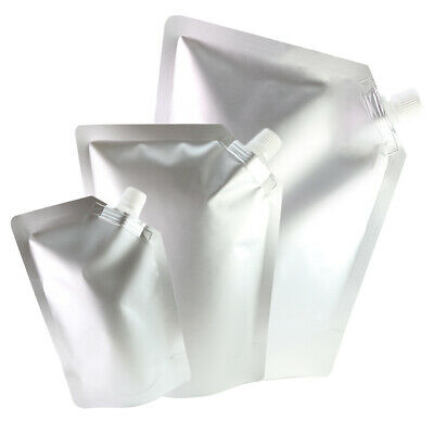 50 Silver Stand Up Beverage Drink Pouches w/ Corner Spout + Funnel Various Sizes