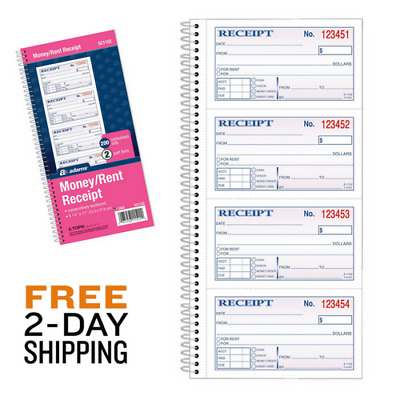 Money Rent Receipt Book 2-Part Carbonless 200 Sets/Book 4 Receipts/Page 11x5.25""