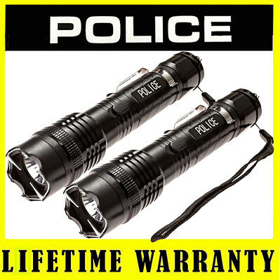 POLICE Stun Gun 1158 58 BV Max Volt Metal LED Flashlight Rechargeable Lot of 2