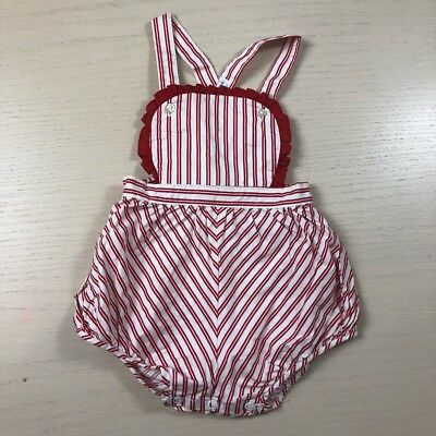 Vintage 1950s red striped sunsuit 18 24 months bow back romper