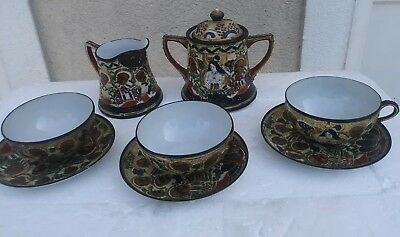 Vintage Nippon Japanese  Hand Painted porcelain Heavy  Gold Tea Set 9 PC