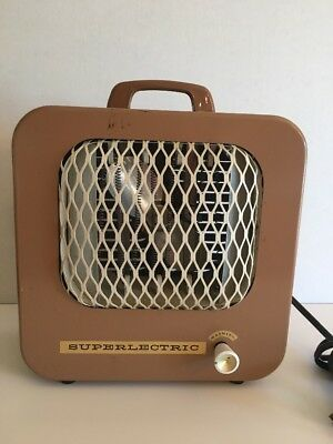 Vintage 1950s Metal SUPER LECTRIC Box Electric Heater with Fan Works GREAT