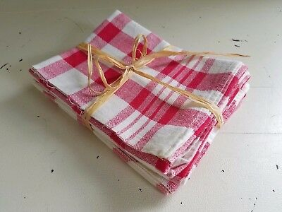 (3) Vintage 1950's CANNON Red White Gingham Check Kitchen Dish Towels ~ NOS