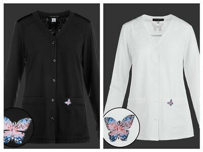 New Clearance #447 Koi Mariposa Lisa Button Down Scrub Jackets Lab coat white