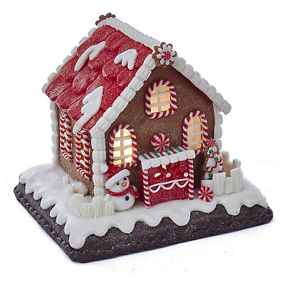 Christmas Decorations - Lighted Peppermint Gingerbread House With Snowman