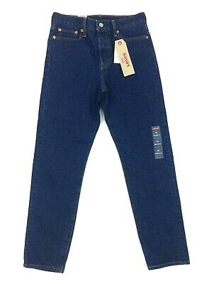 NEW Levi's Wedgie Fit Dark Blue Solid Womens Denim Jeans Pants Red Tab Sz 24 25