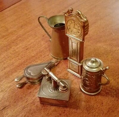 Mini Brass Grandfather Clock, Bellows, Tankard, and Antique Style Telephone
