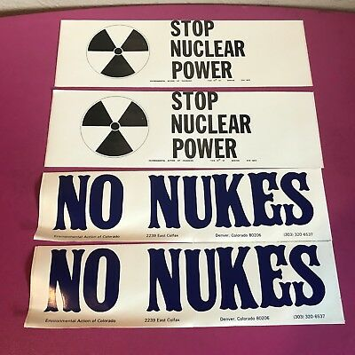 Lot of 4 Vtg NO NUKES & STOP NUCLEAR POWER BUMPER STICKERS 1970s