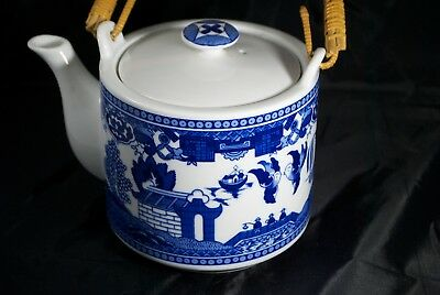 Japanese Porcelain Blue & White Teapot Flower Handle Japan Imports Vintage