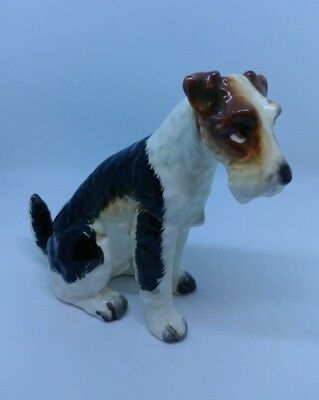 "Vtg NAPCO PORCELAIN WIRE FOX TERRIER DOG FIGURINE  4"" TALL"