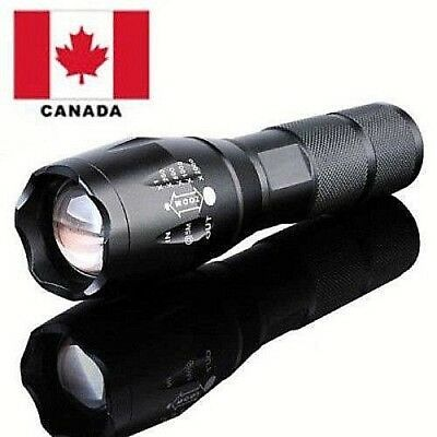 10000LM Zoomable Tactical Military LED Flashlight Torch Lamp Light Canada 18650