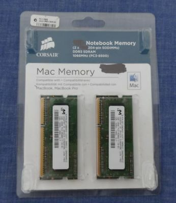 2 x 1GB = 2GB DDR3 SO-DIMM RAM 8500S 1066 MHz 204 Pin for MacBook / Pro