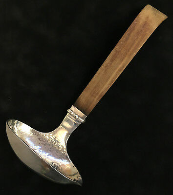 SPRATLING Mid-40s Ladle Spoon in Sterling Silver + Rosewood w Hammered Interior