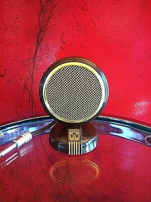 Vintage RARE 1940's Grundig crystal microphone old used antique w desk stand