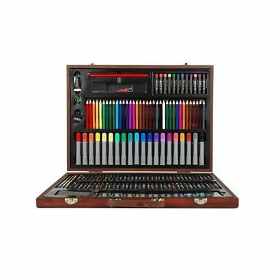 167 Piece Complete Paint Drawing Art Kit Set Stylish Wooden Storage Case New