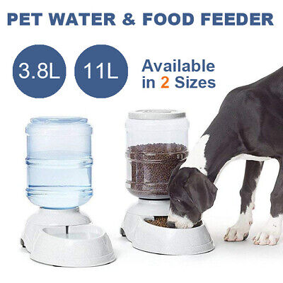 Automatic Water/Food Pet Dog Cat Puppy Dispenser Feeder Bowl Bottle 3.8/11L