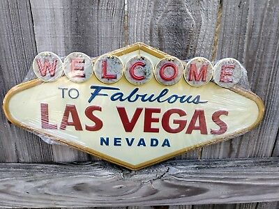 WELCOME TO Fabulous LAS VEGAS metal sign  embossed NEW