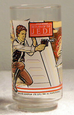 Vintage 1983 Star Wars: Return of the Jedi Hans Solo Glass Burger King Coca Cola