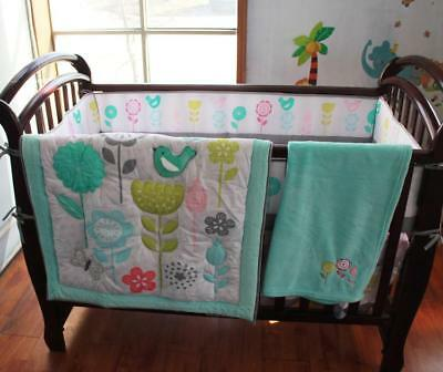 New Baby Crib Bedding Set Nursery Cotton Quilt Bumper Skirt Fitted Sheet Blanket