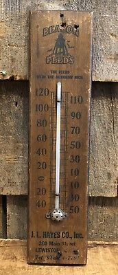 Antique Early 1900's BEACON FEEDS Dealer J.L. Hayes Lewiston ME Thermometer Sign