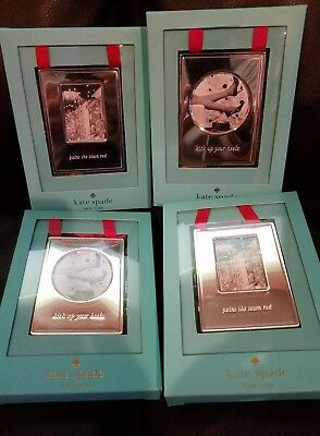 Kate Spade New York Lenox Picture Frame Ornaments Silver Lot of 4