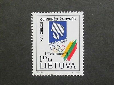 Winter Olympic games stamp, emblem, team colours, Lithuania, SG ref: 552, MNH