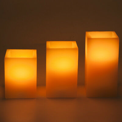 Square flameless color changing led candle, real paraffin wax made with remote
