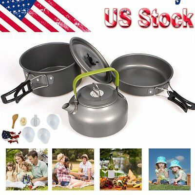 Picnic Camping Cookware Mess Kit Lightweight Backpacking Cooking Set -12PCS MA