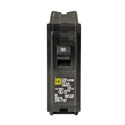 Homeline Single Pole Circuit Breaker 30 Amp Panel Protection Electrical System