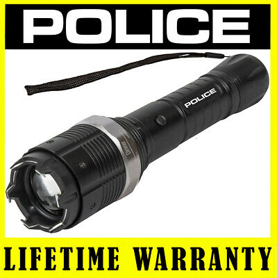 POLICE Metal Stun Gun 8811 78 BV Rechargeable LED Flashlight + Taser Case