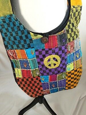 Boho Crossbody Sling Bag Purse Shoulder Peace sign Block Patchwork Large New