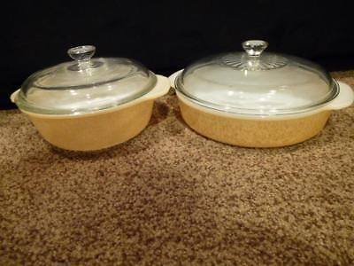 2-Peach Lustre Fire King Round Casserole Baking Dish Lid 450 Glass 446 Anchor 8""