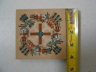 Nice Vintage Older Navajo Indian Sand Art Painting Signed 4 X 4 Inches