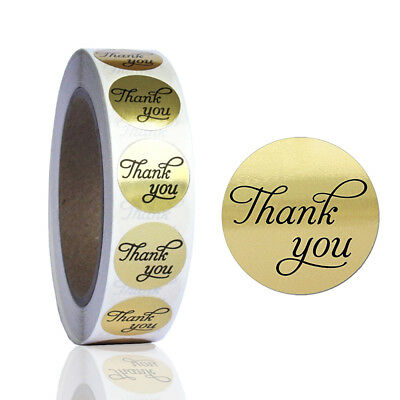 1000pcs Golden Round Thank You Kraft Paper Stickers Adhesive Label