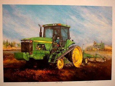 "JOHN DEERE 8200T TRACTOR ART PRINT - ""TRACKIN' OUR PAST"" by R L CROUSE - S/N"