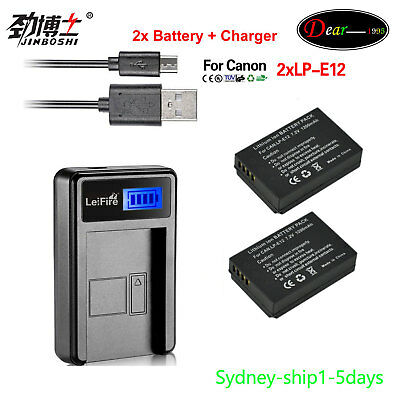 LP-E12 2x 7.4V 1200mAh Rechargeable Li-ion Replacement Battery with LCD charger