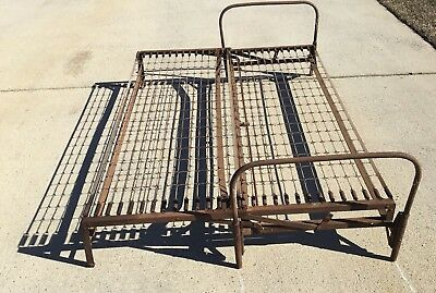 Antique Original Design Rustic Hospital Metal Twin Folding Full Size Bed Frame