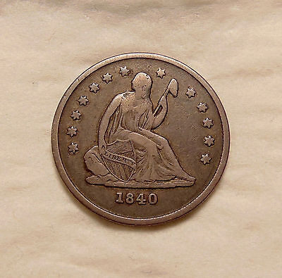 """1840-O Liberty Seated Quarter - """"No Drapery Variety"""" - Very Nice Looking Coin"""