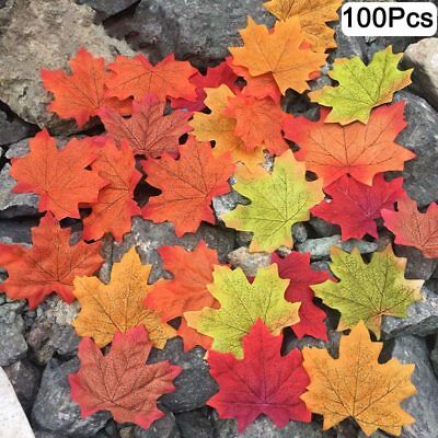 100Pcs Artificial Maple Leaves DIY Scrapbooking Craft Fake Leaf Party Home Decor
