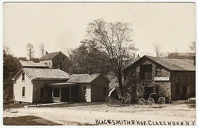 RARE Real Photo - Clarendon NY -  Blacksmith Shop  -  RPPC 1908